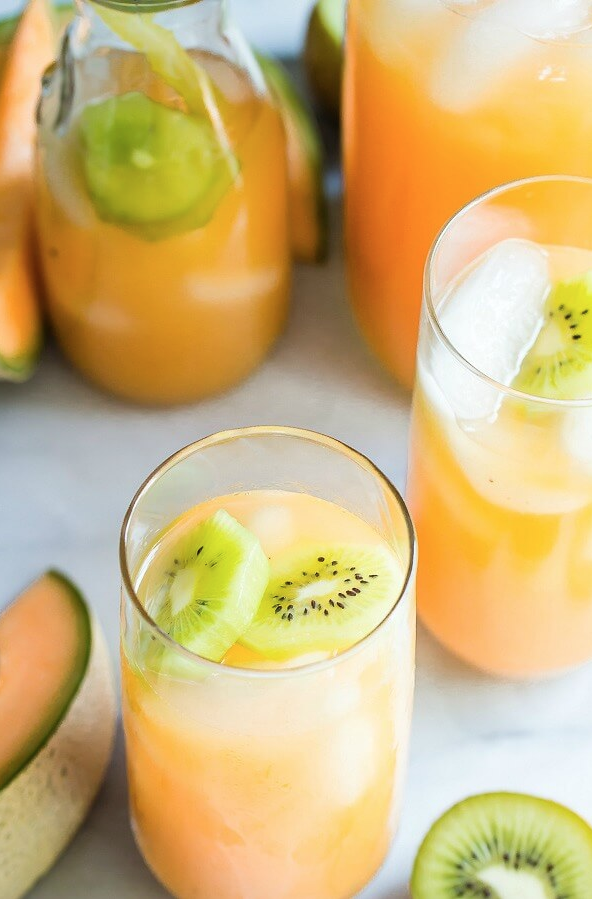 Cantaloupe Melon and Kiwi Agua Fresca from Foodness Gracious