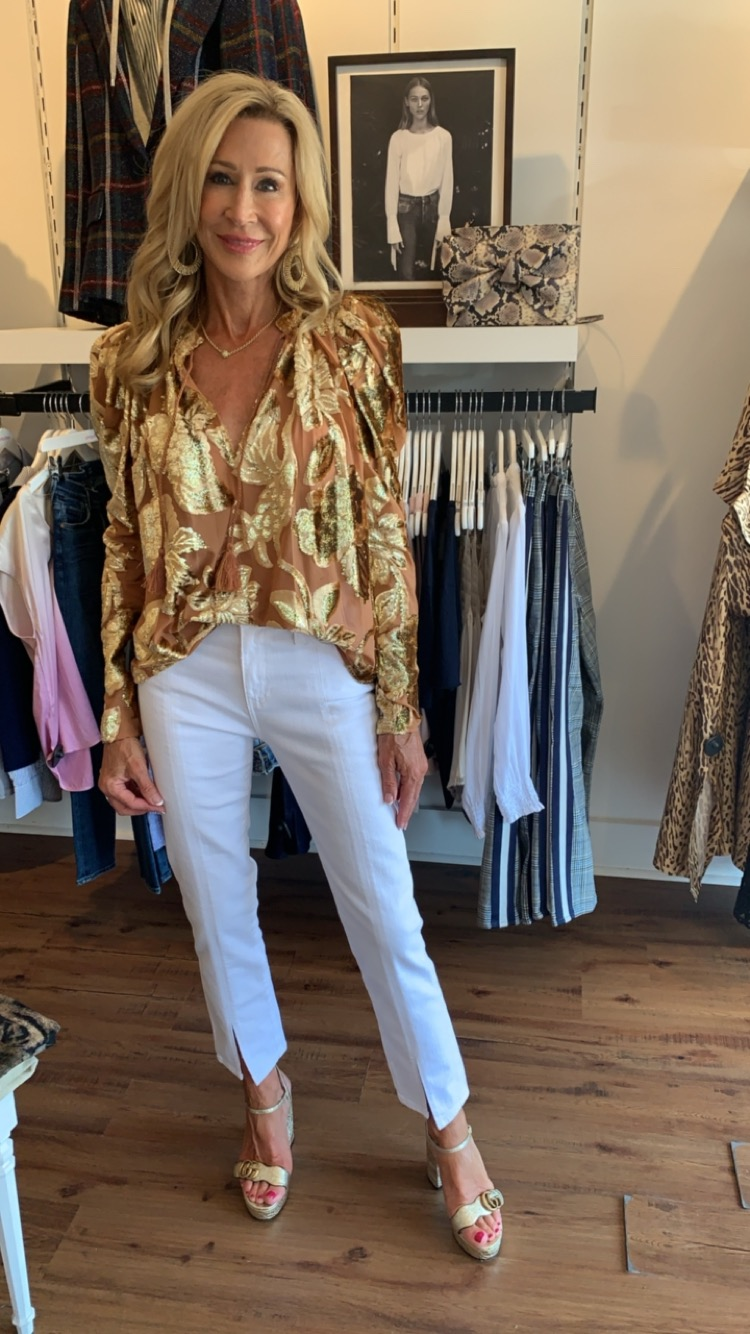 Ulla Johnson top with white jeans - Crazy Blonde Life