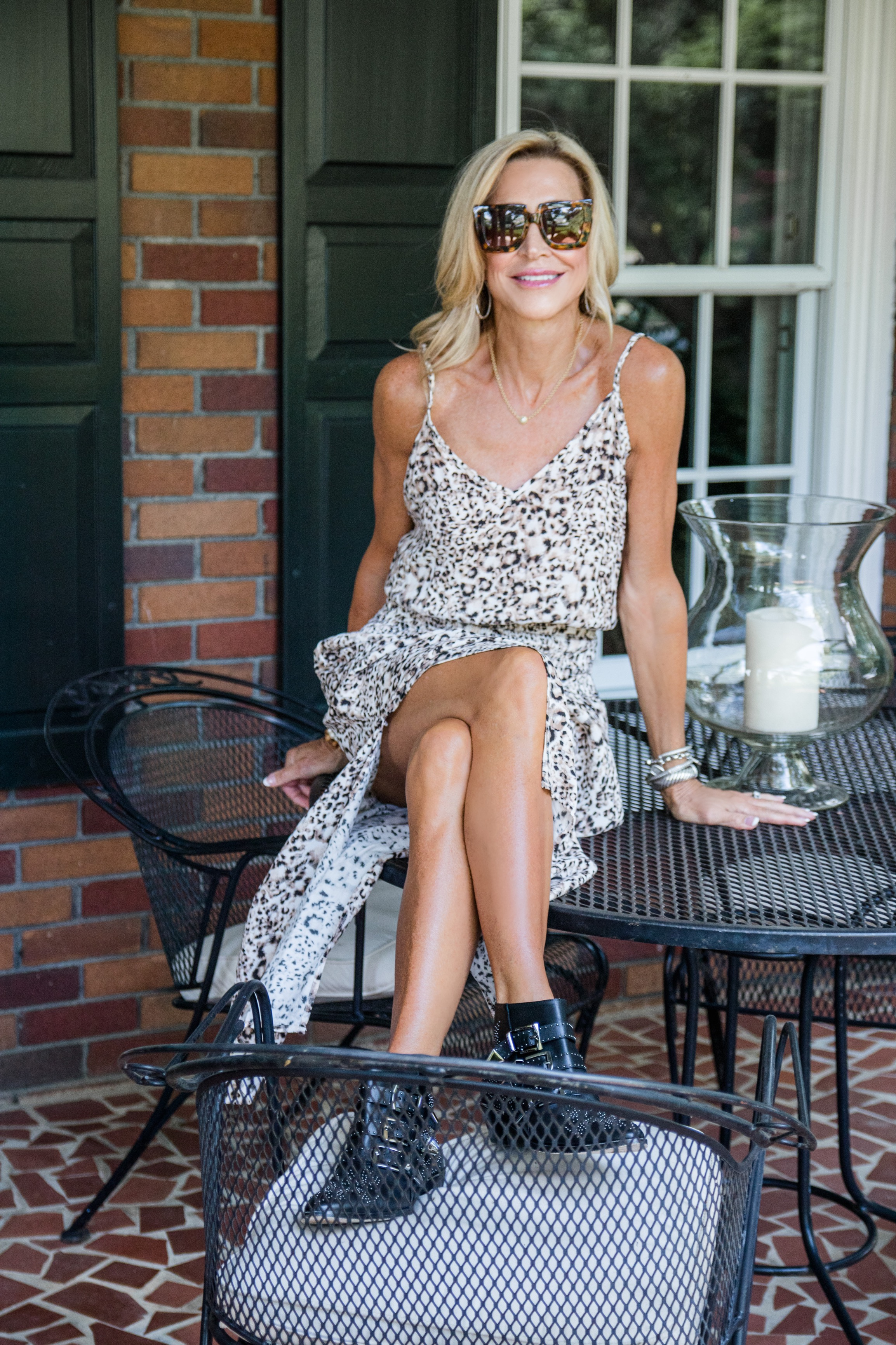 Blue Life leopard print dress with Chloé Susanna booties - Fall transitional outfit idea - Crazy Blonde Style