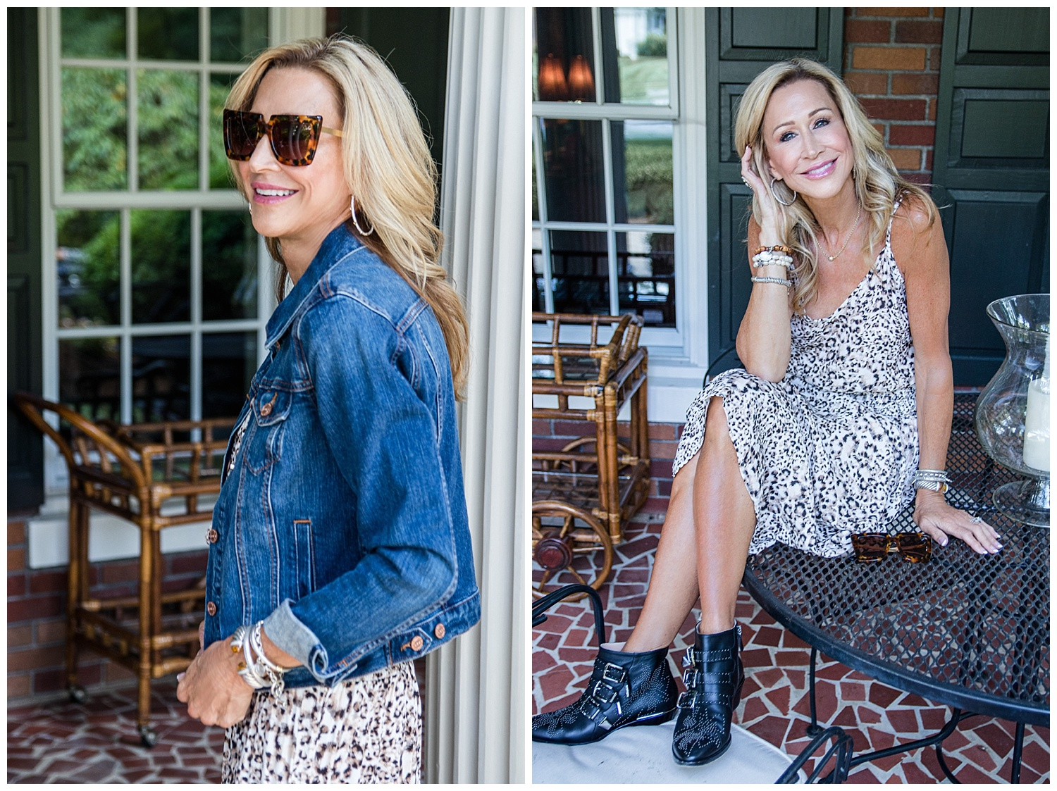 Blue Life leopard print dress with denim jacket and Chloé Susanna booties - Crazy Blonde Style
