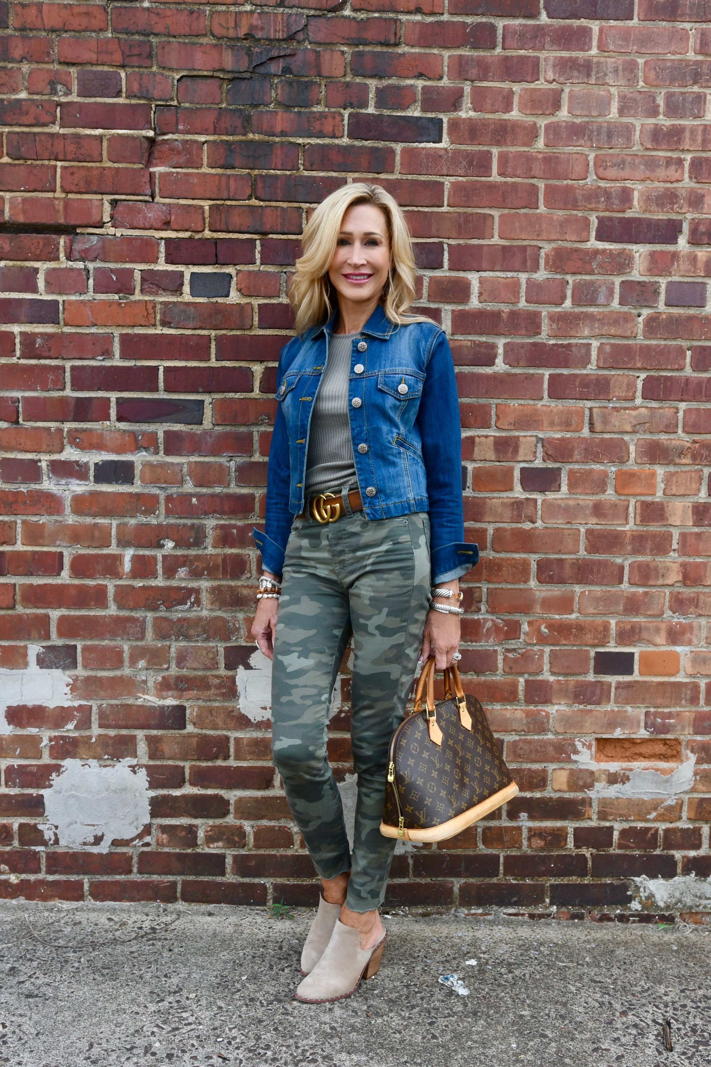 Styling Camo Pants with a Denim Jacket - Crazy Blonde Life