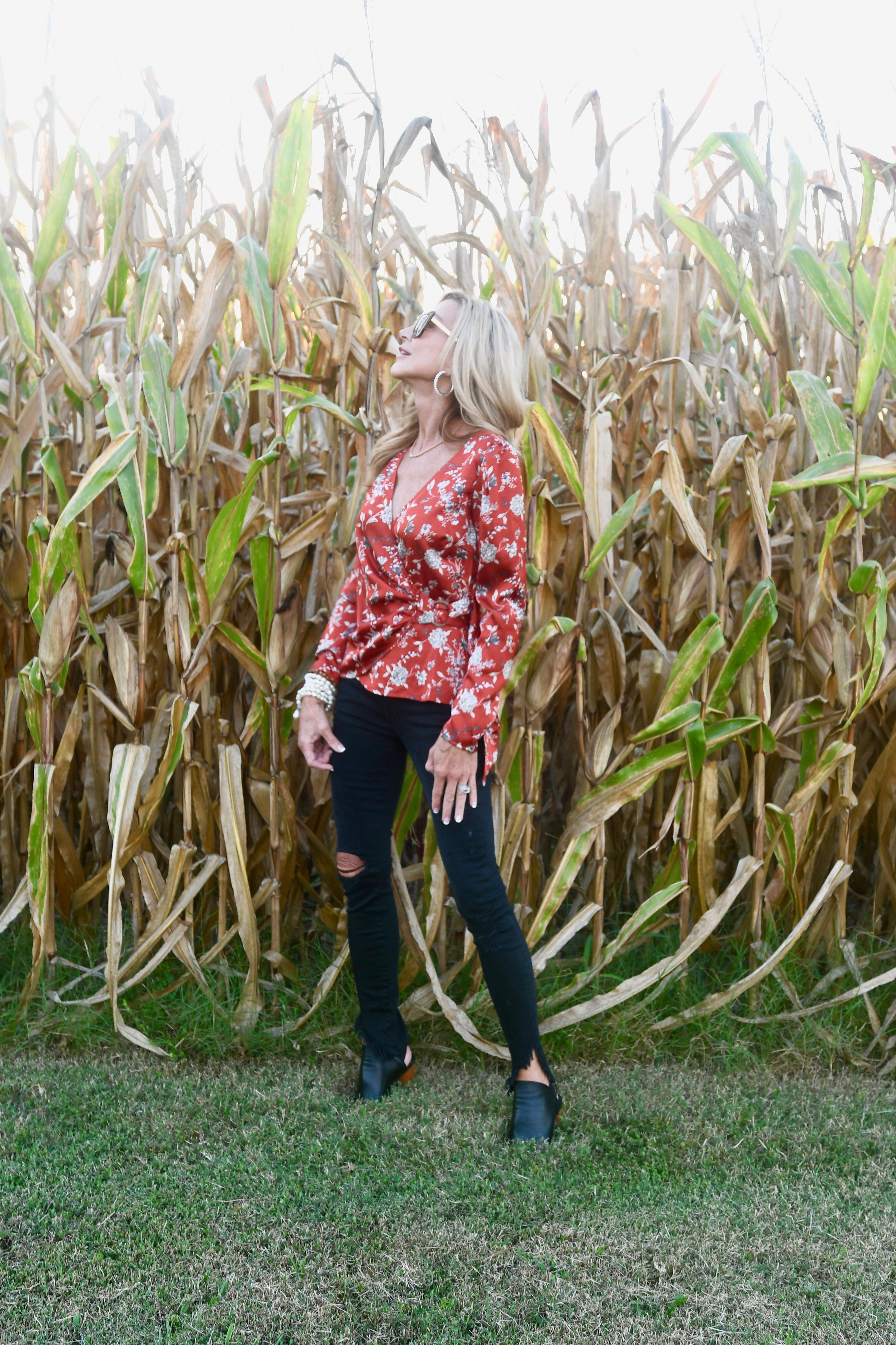Red Floral Blouse - Crazy Blonde Style