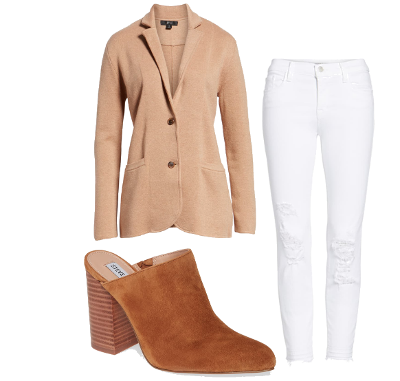 Camel & White Outfit Idea - Crazy Blonde Life