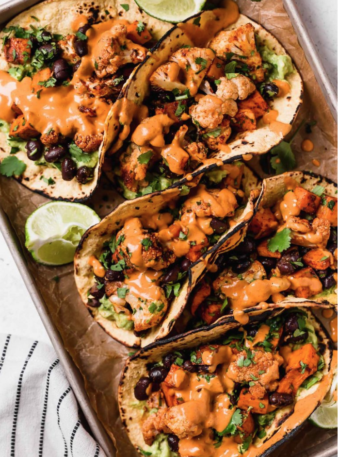 Roasted Veggie Tacos with Chipotle Lime Crema - Plays Well With Butter