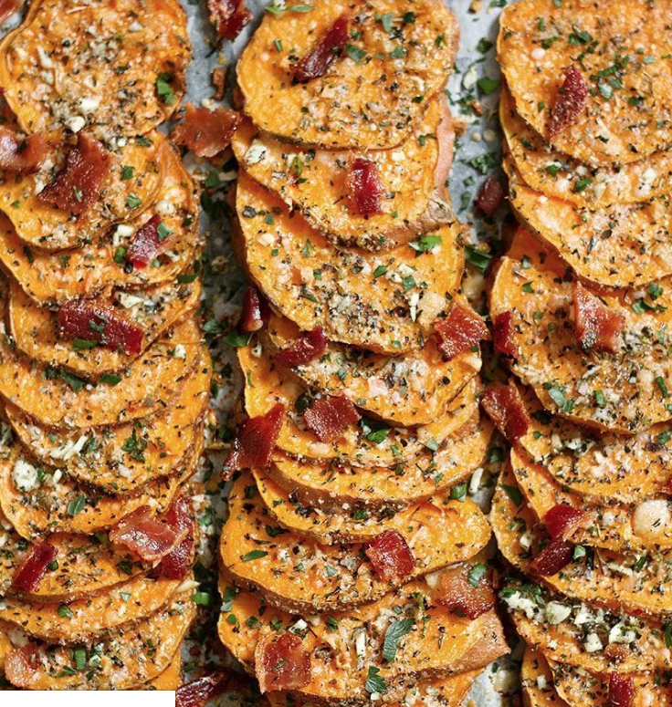 GarlicParmesan Roasted Sweet Potatoes