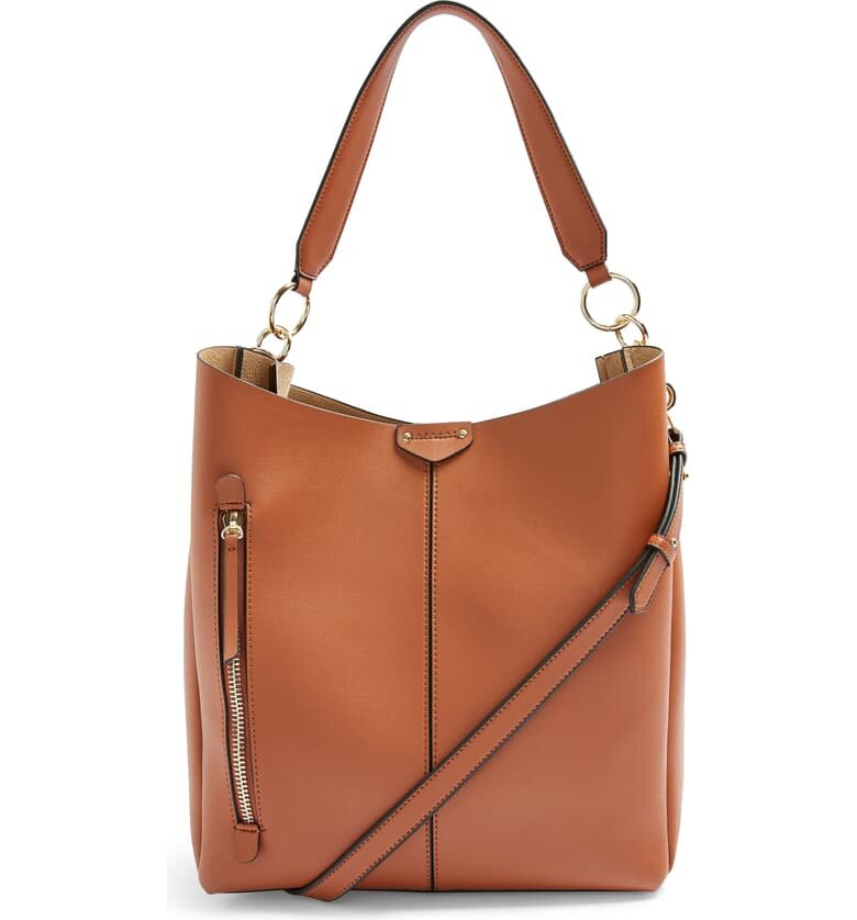 Topshop Faux Leather Hobo Bag - $55