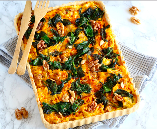Pumpkin Spinach and Goat Cheese Quiche