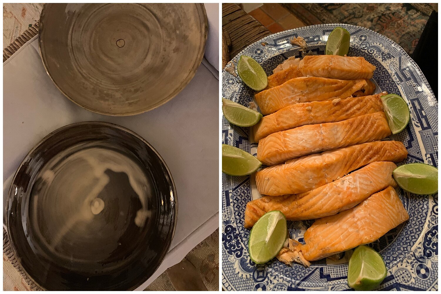 Our first dinner in France - roasted salmon served on handmade plates