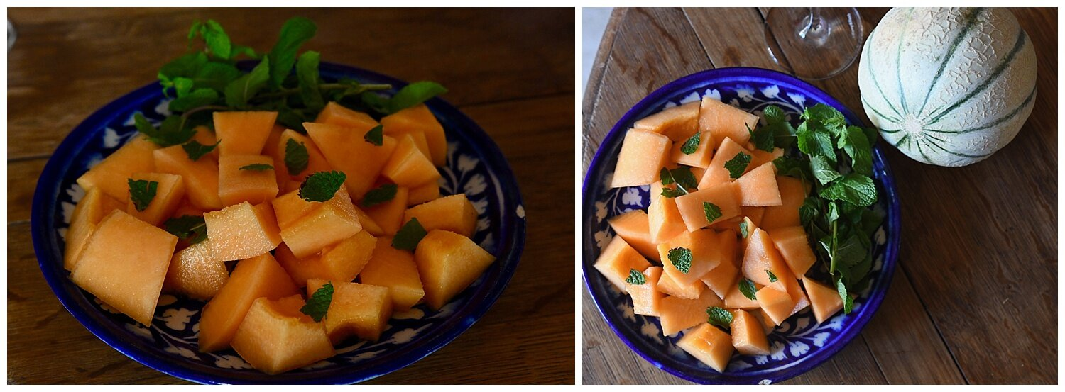 Lunch at Christel's - Melon Salad - My Crazy Blonde trip to France