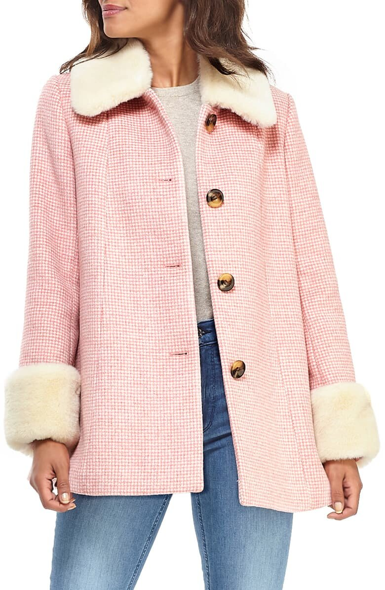 Gal Meets Glam Collection Check Coat with Fur Trim - $360