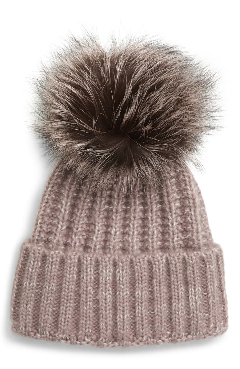 Beanie with Genuine Fox Fur Pom - $90