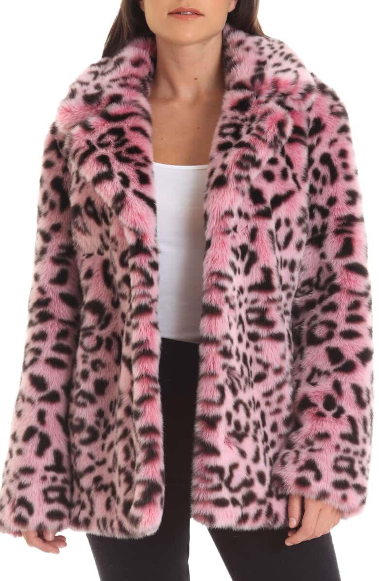 Pink Animal Print Faux Fur Coat - $199