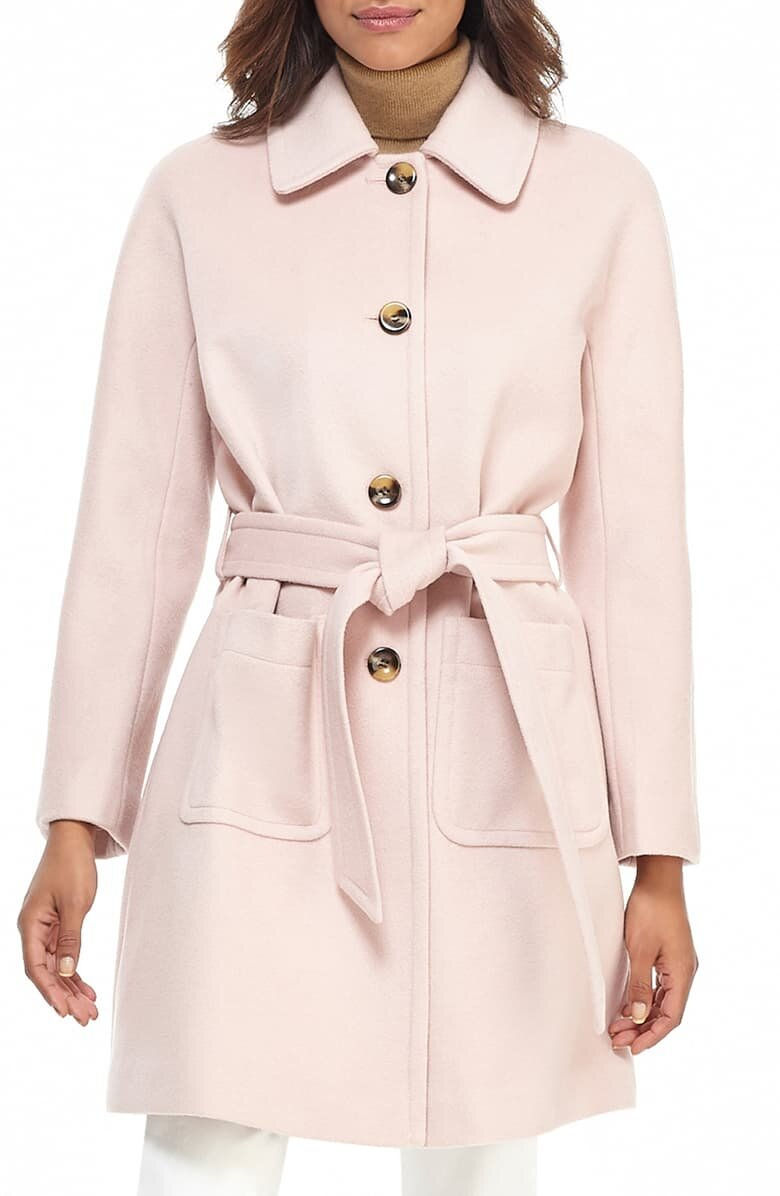 Gal Meets Glam Collection Belted Wool Coat - $340