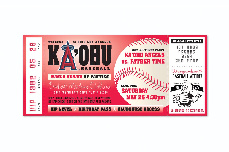 Baseball Ticket,   Birthday party invitation