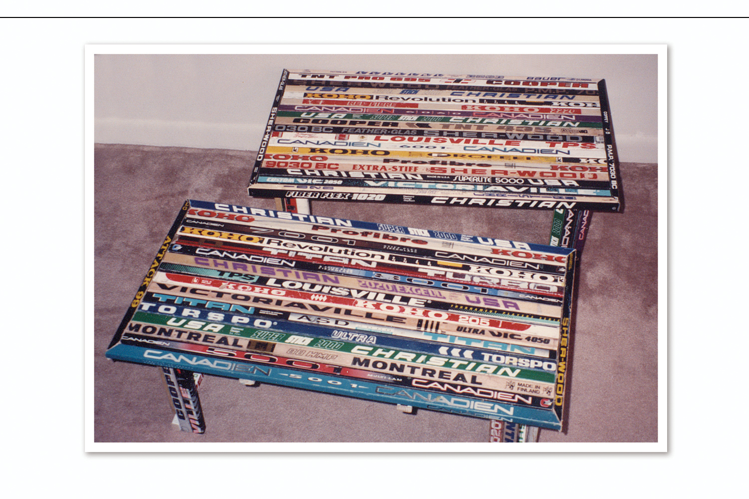 Hockey Tables from Recycled Sticks,   On display at the Alan Bortman Design Group
