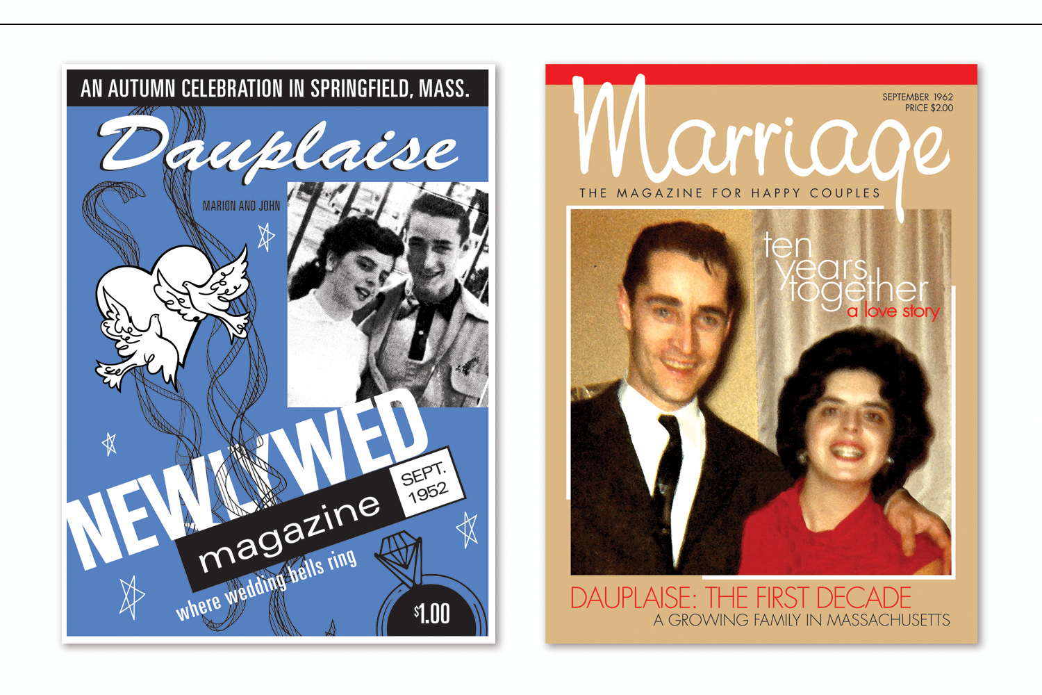 """""""50th Anniversary Magazine Covers: 1952 and 1962"""",   Wedding anniversary celebrated with original designs created in the style of six specific decades"""