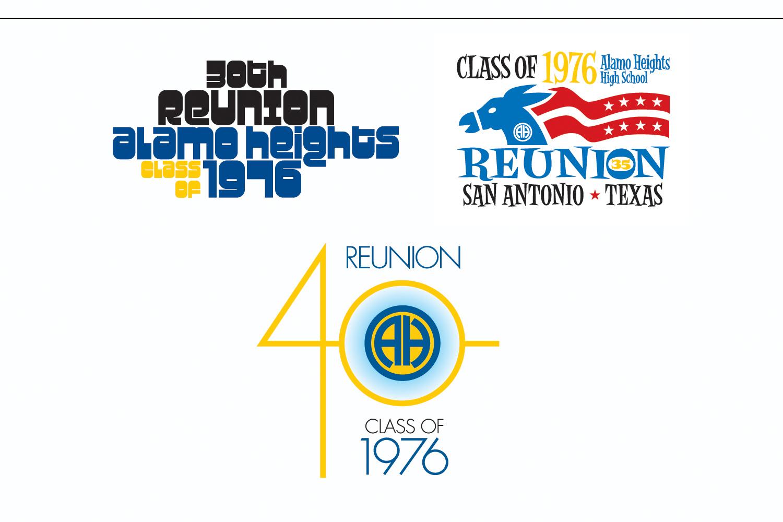 """High School Reunion"",   Logos for three events"