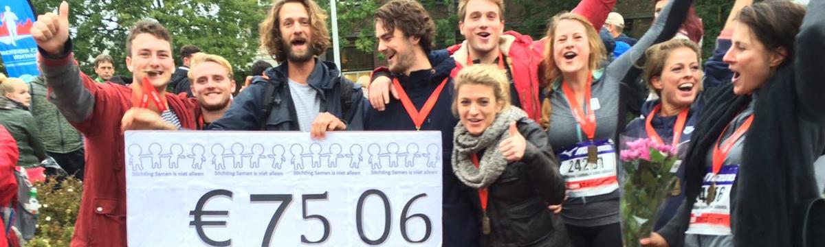 Happy marathon runners for Stichting SINA.