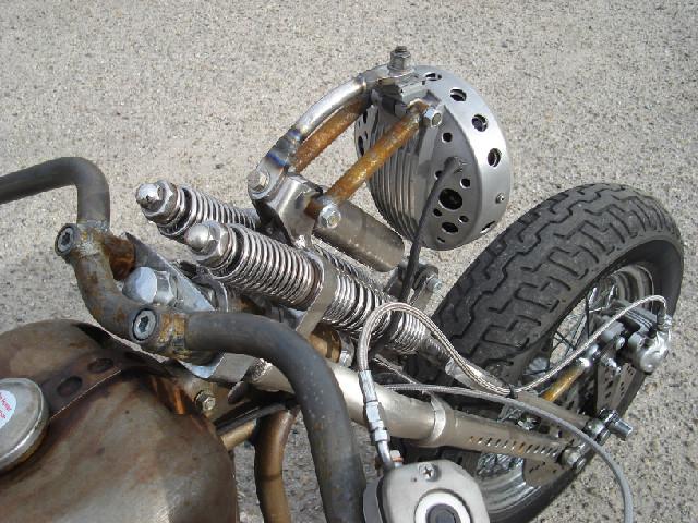 custom built handlebars and headlight mount