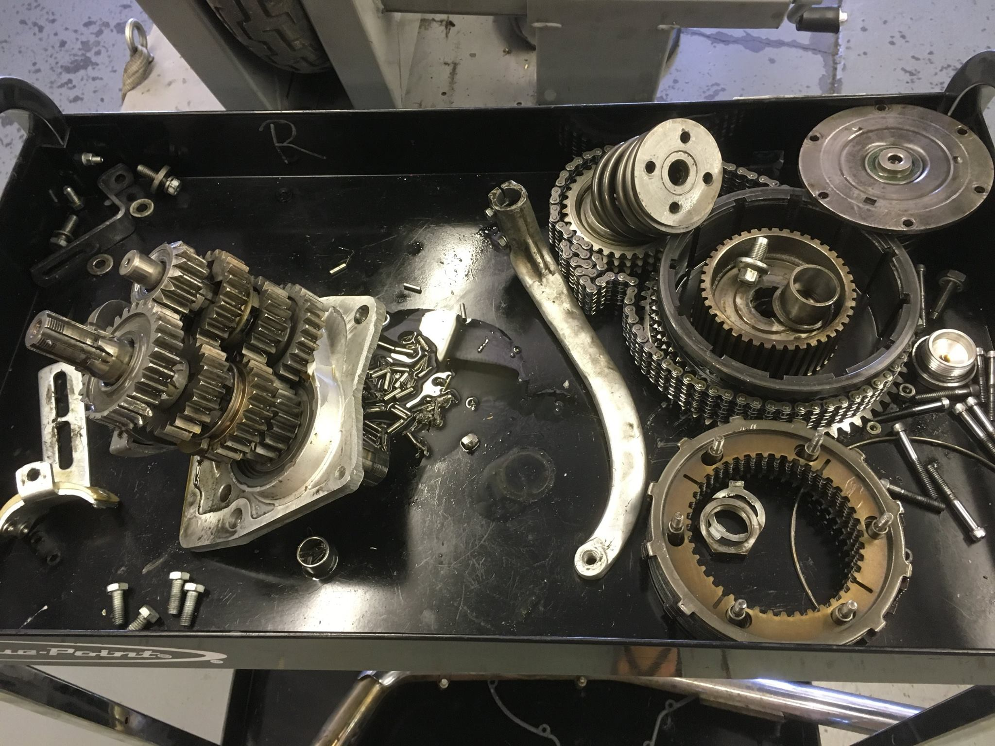 GONE TO HELL IN A HANDBASKET...HARLEY IRONHEAD TRANSMISSION DAMAGE