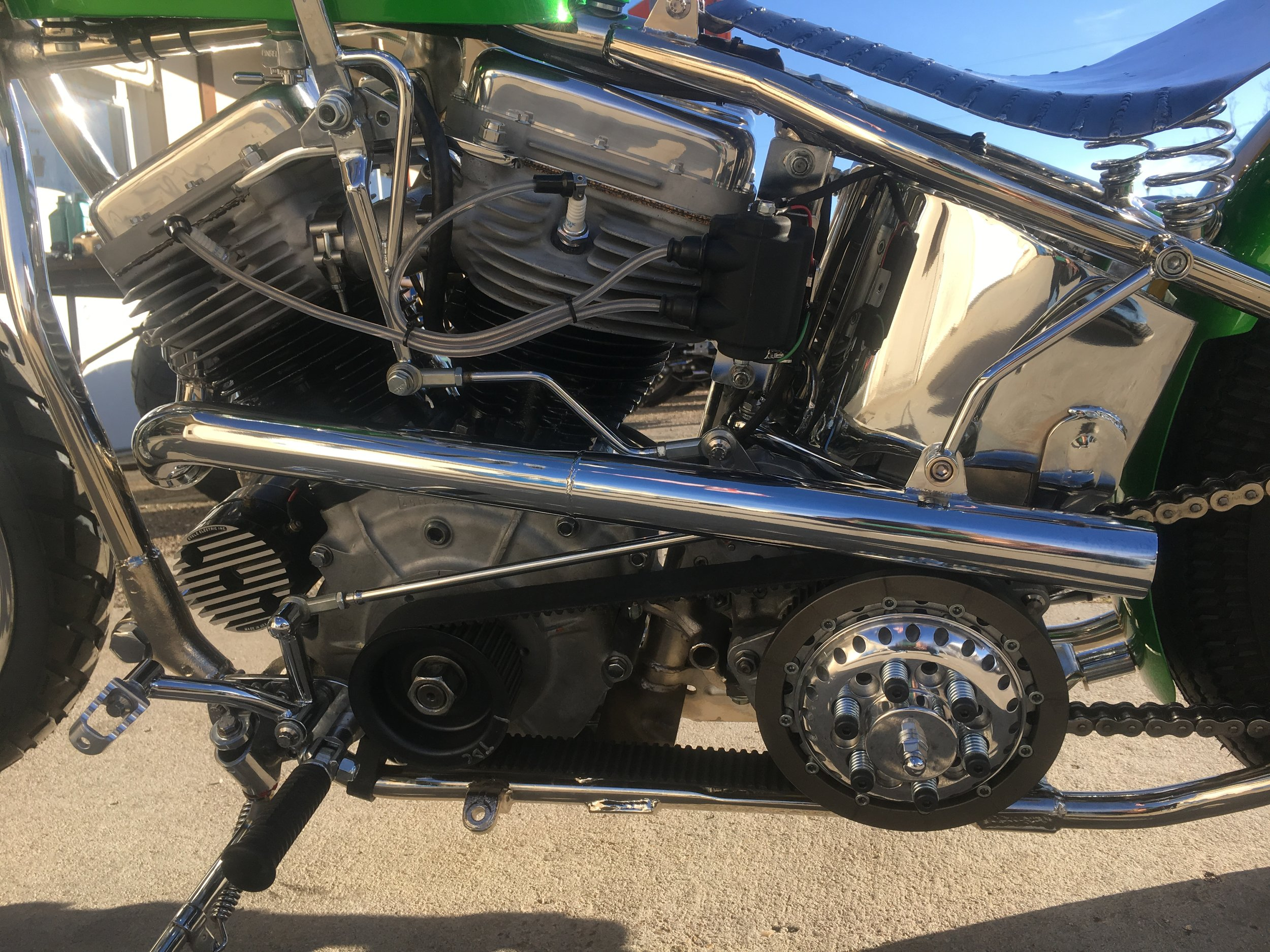 1949 Panhead Chopper with BDL open belt drive (modified by Todd).  Hand built forward controls, exhaust, hand shift linkage and shifter, seat pan by Todd Apple