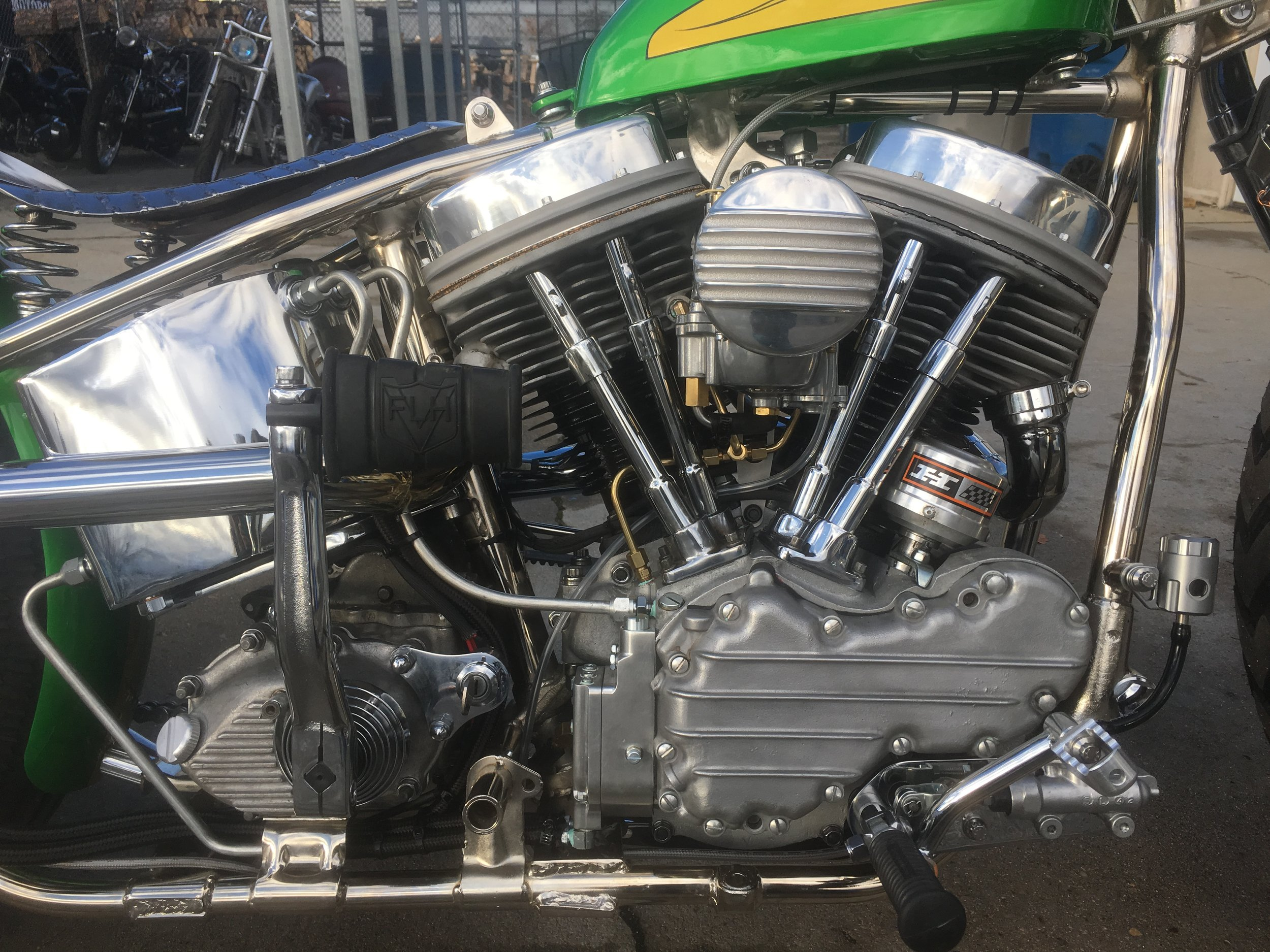 1949 panhead motor (rebuilt) and hand built forward controls by Todd Apple.