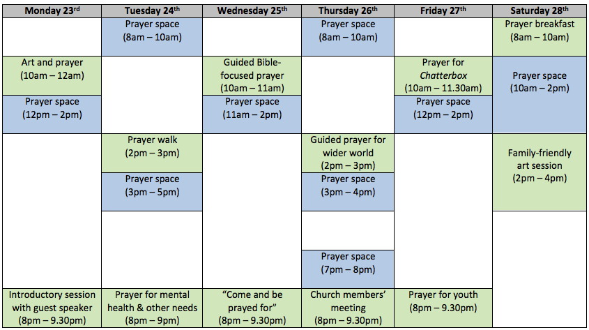 Blue slots are times for individual / silent prayer    Green slots are times of corporate / guided prayer