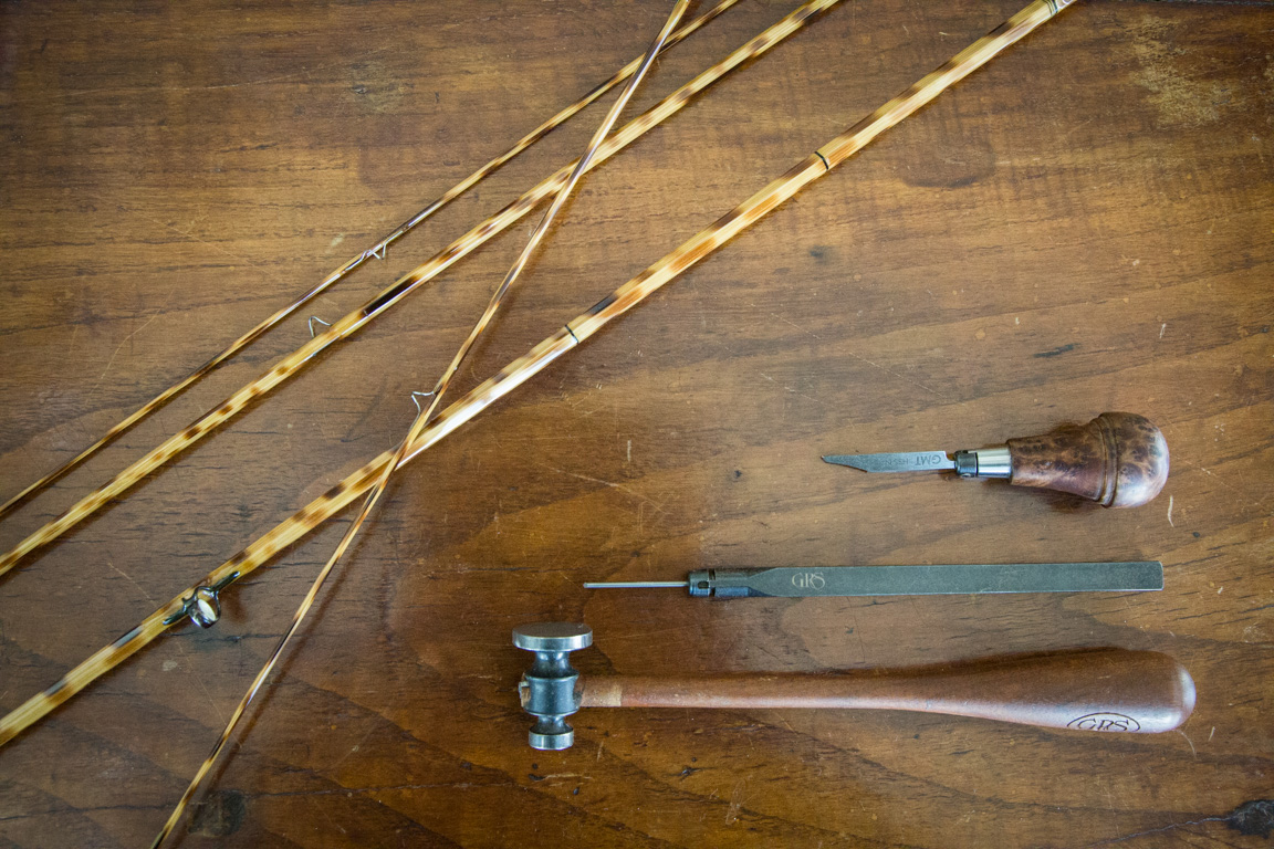 Bill Oyster's tools and supplies to create a bamboo fly rod.