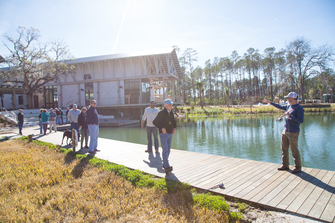 Guests join Bill Oyster and Palmetto Bluff expert angler Fuzzy Davis on Friday morning for casting lessons, how-to's, and fly-tying demonstrations.