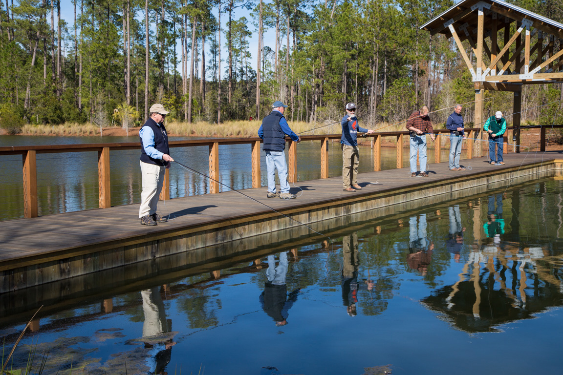 Guests fly cast at the pond by the Artist Cottage.