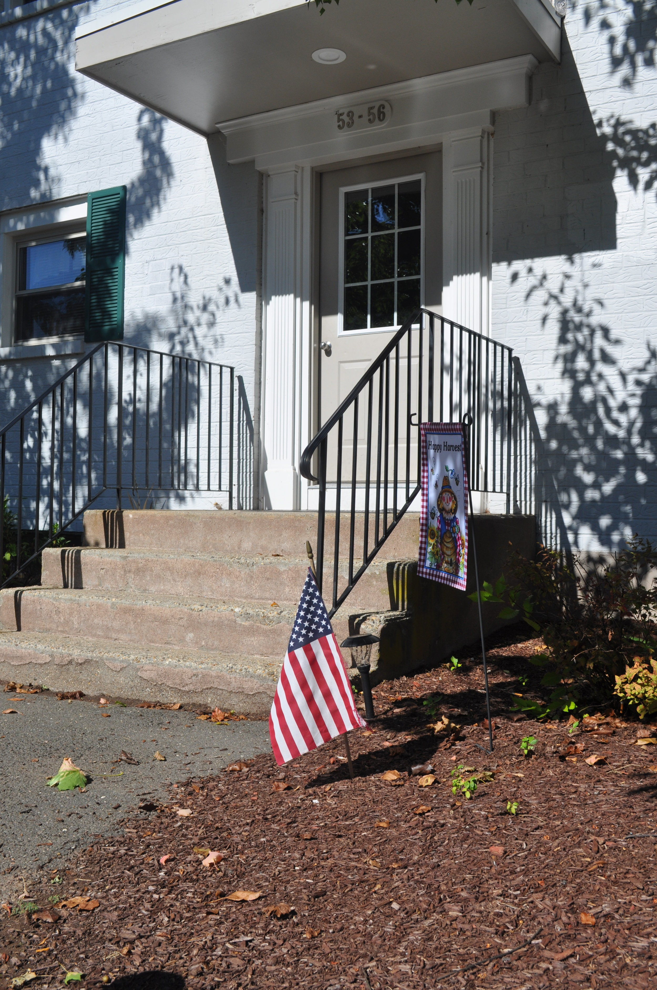 A white door with steps leading to it with a small American flag planted in the ground beside the steps.