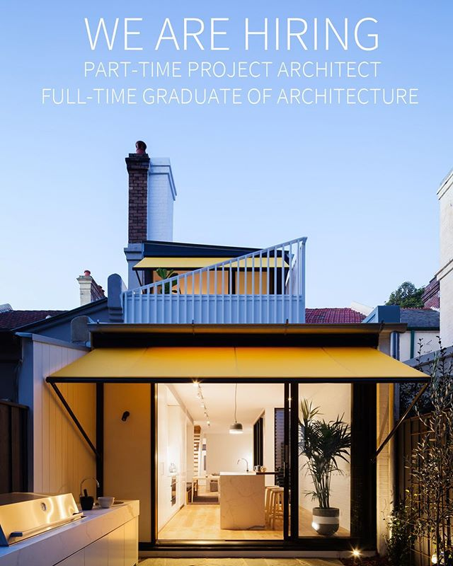 We are looking for a part-time project architect, or full time graduate of architect (2+ years of post grad project experience) Email cv to michael@michaelcummingarchitect.com.au  #australianarchitecture #sydneyarchitect
