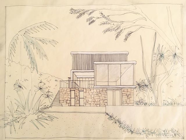 An old design sketch we found of a design option for one of our houses currently in construction in Coogee  #sketch #australianarchitecture #sydneyarchitecture #coogeebeach #beachhouse