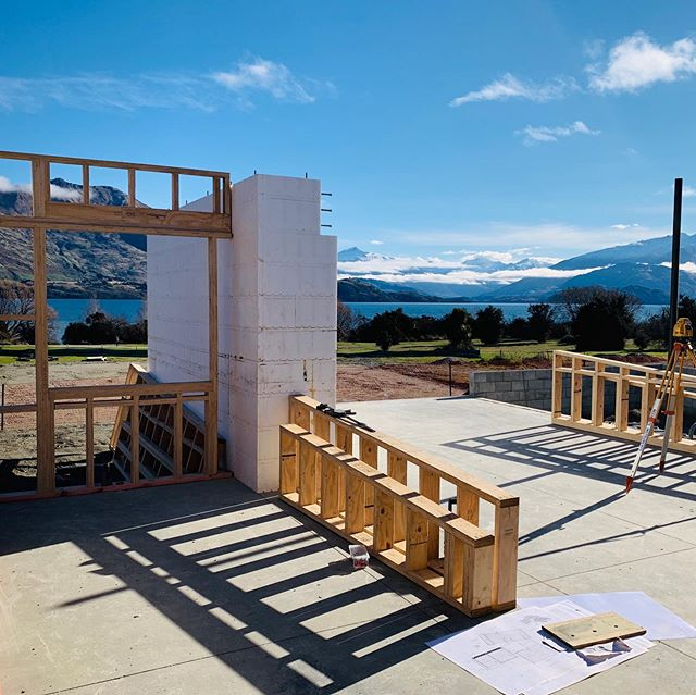 Progress 👍  Once you stop looking at the view, it's nice to notice the many many architectural design decisions coming to life.  Insulated blocks for a better thermal value, north facing concrete slab soaking up the sun's thermal energy, 140mm studs allow more bulk insulation, angled roof pitches relating to the mountains, windows framing different views, the in-between spaces of pavilions, and the grounding of masonry elements vs timber frames.... all coming together nicely. Great work by builder Nevin Gibb and his team and BMC engineers so far.  #wanaka #australianarchitecture #sydneyarchitecture #architecture #sydneyarchitect #newzealandarchitecture #archdaily