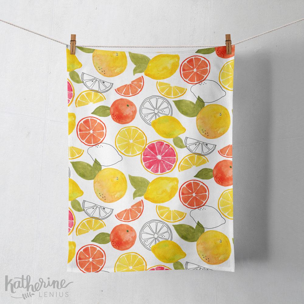 Citrus design mocked up on a tea towel.