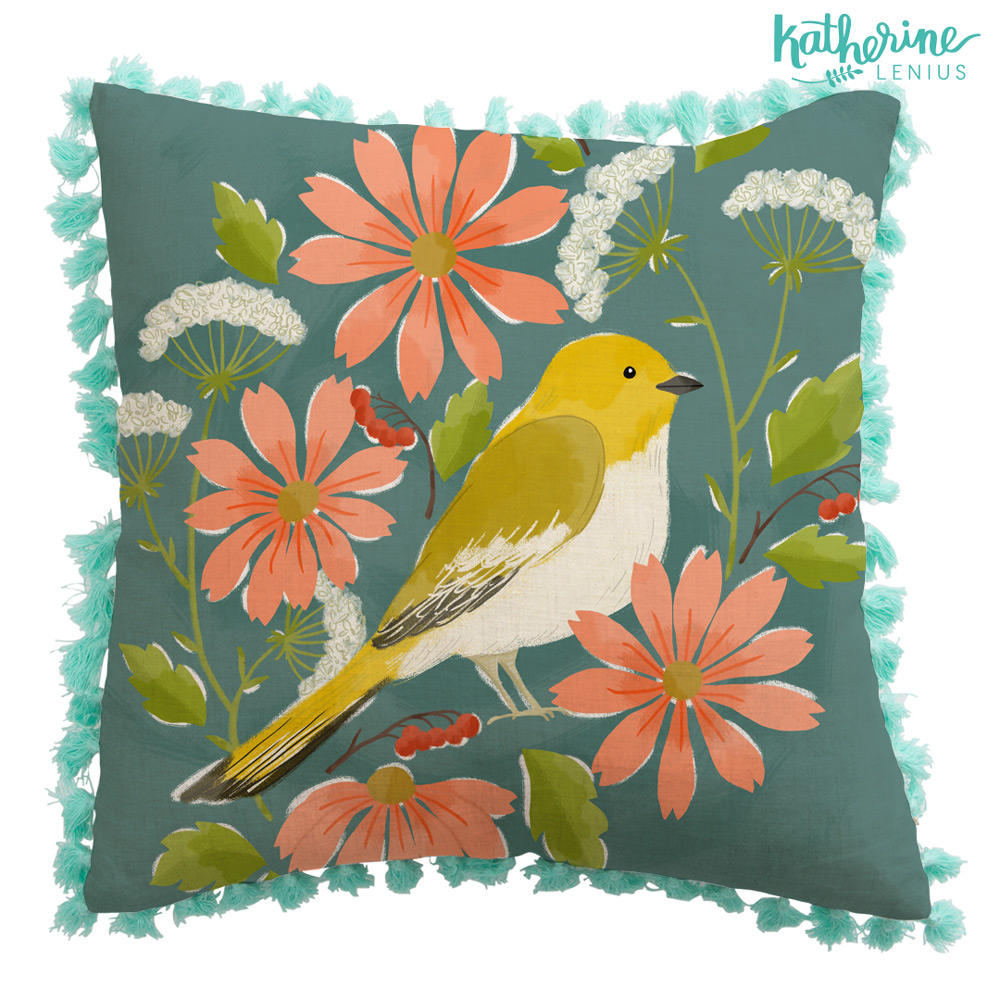 Pillow with tassels? Put a bird on it!