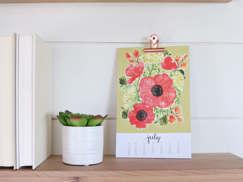 2018 Watercolor Bouquets Calendar