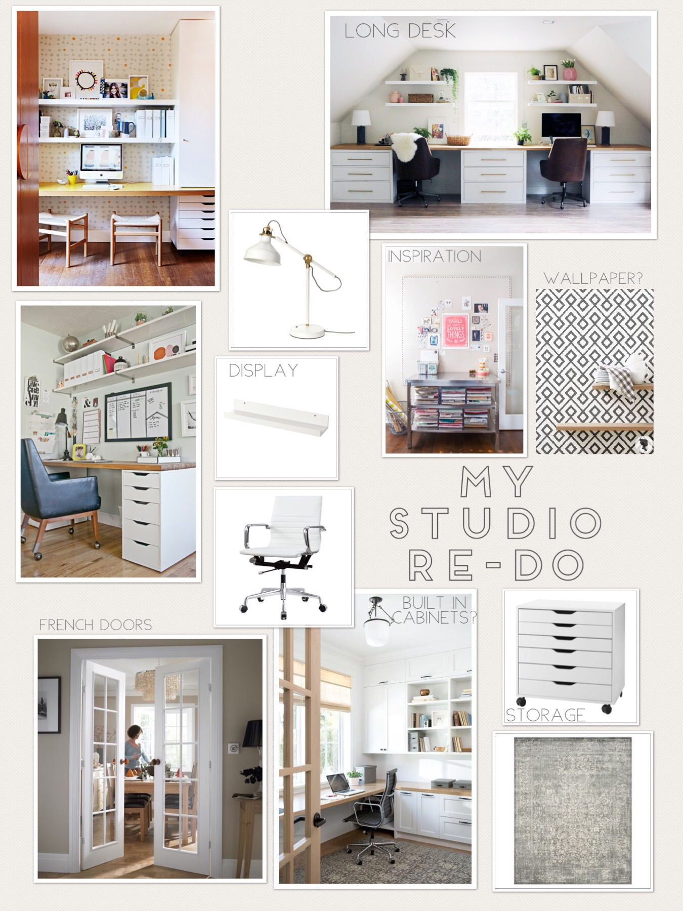 Sources (when known, top to bottom): Office nook from a profile on  The Design Files , Studio from  Jones Design Co. ,  Ranarp work lamp  (IKEA), Large pin board project from  Handmade Mood ,  Mosslanda picture ledge  (IKEA), white office chair from Wayfair  (similar one) ,  Alex drawer unit  (IKEA), gray vintage look area rug (ideas from  Target ).