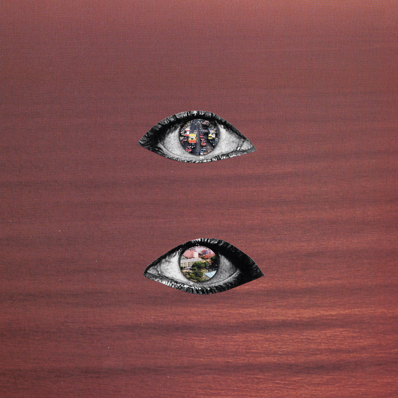 """portada de """"Elsewhere"""". todas las imágenes son cortesía de For Now, collages realizados por Isabel Crespo."""
