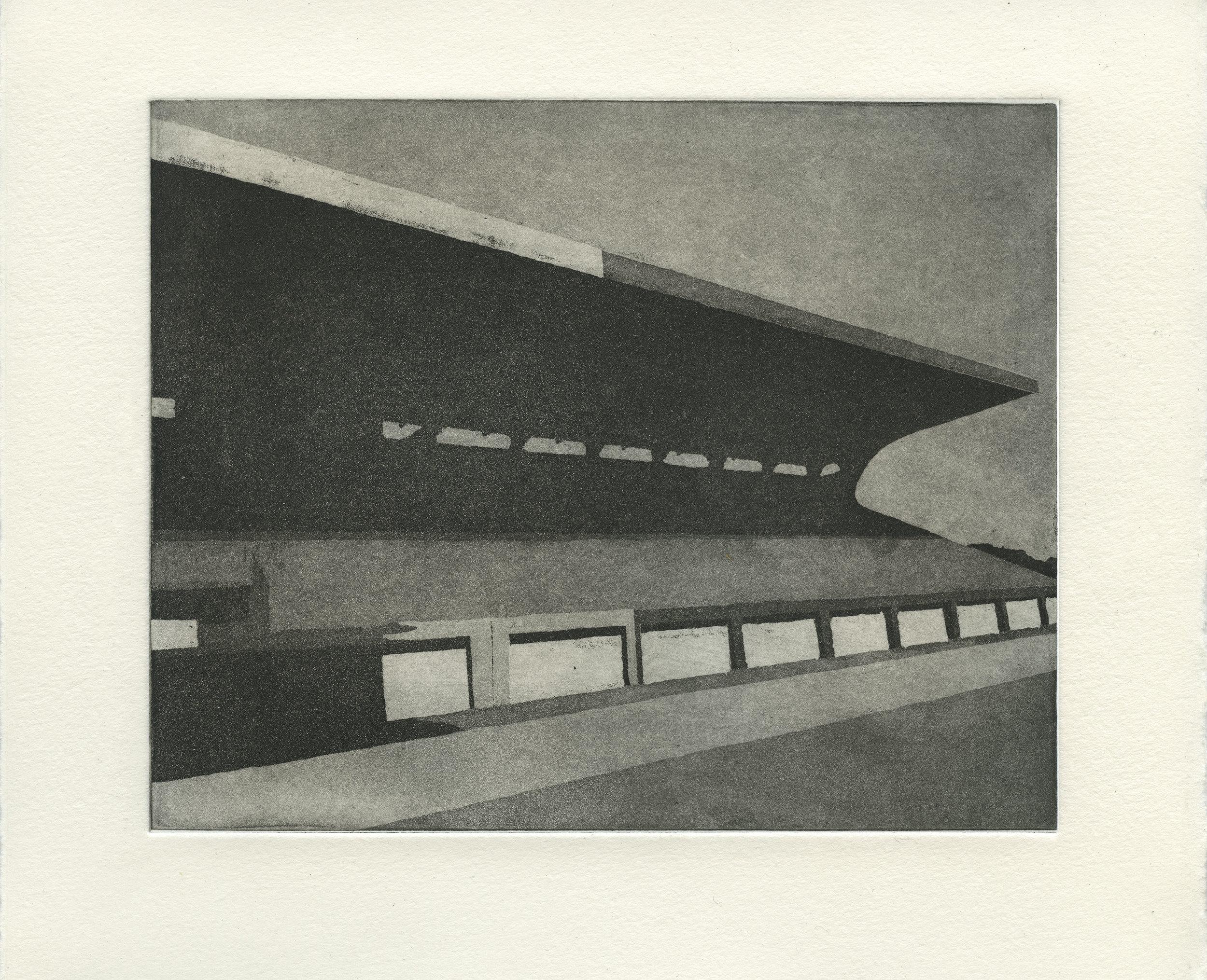 """""""Estadio"""", grabado al aguatinta, 30cm x 25cm, 2016"""