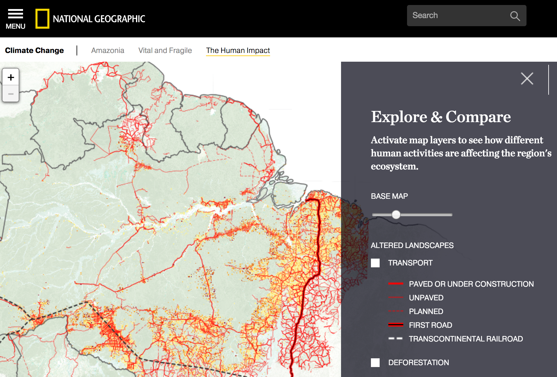 Interactive comparison map on National Geographic's Amazonia Under Threat publication