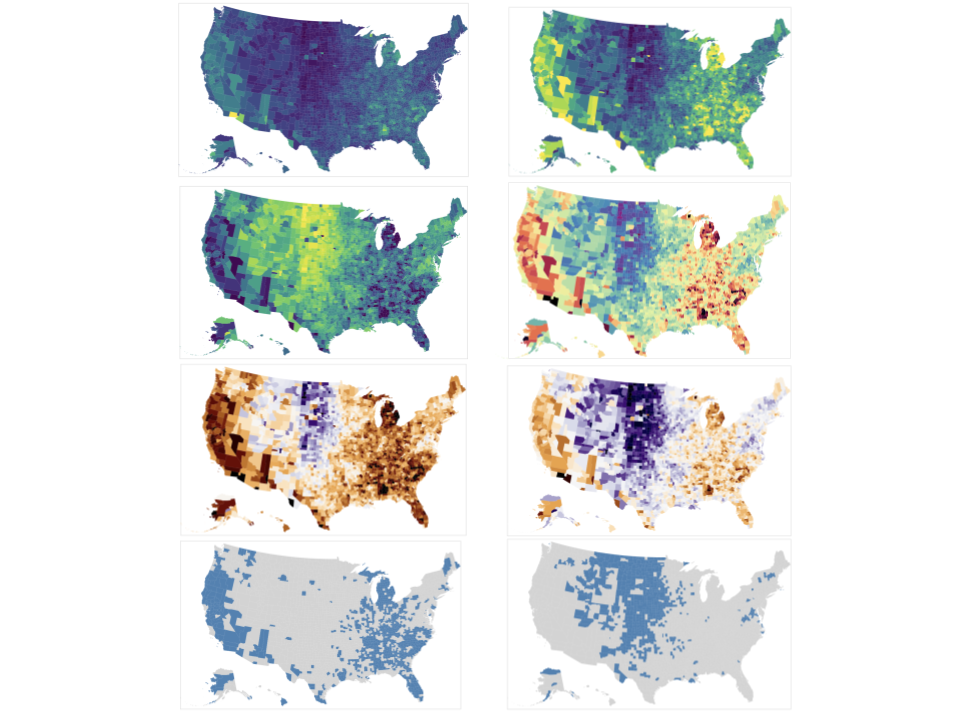 """This set of 8 different representations of the same 2009 unemployment data by county in the United States illustrates the idea of having """"small multiples, which show the same data but use different visual forms."""" The only difference in these charts is the mapping from number to color, but we notice different aspects of the data based on the different mappings.   For example, in the upper left map the colors go from purple for the min value (close to 0%) to yellow for the max value in the dataset (~30%). The upper right goes from purple at 2.5% to yellow at 15%, since only a small number (4%) of the counties had an unemployment rate over 15%.   By default, most tools set the min/max of the color scale at the mix/max of the data. But, that can be less valuable than a more intentional color scale. By deciding to set the max to 15% we are able to more easily perceive (and notice) the difference between 8% and 12% than with a max of 30%.  Or, using the min/max default can be misleading. For example, if you make two maps, one with 2009 data and the other with 2012, the same color blue will represent different numbers purely because the most extreme outlier (the max value) will be different."""