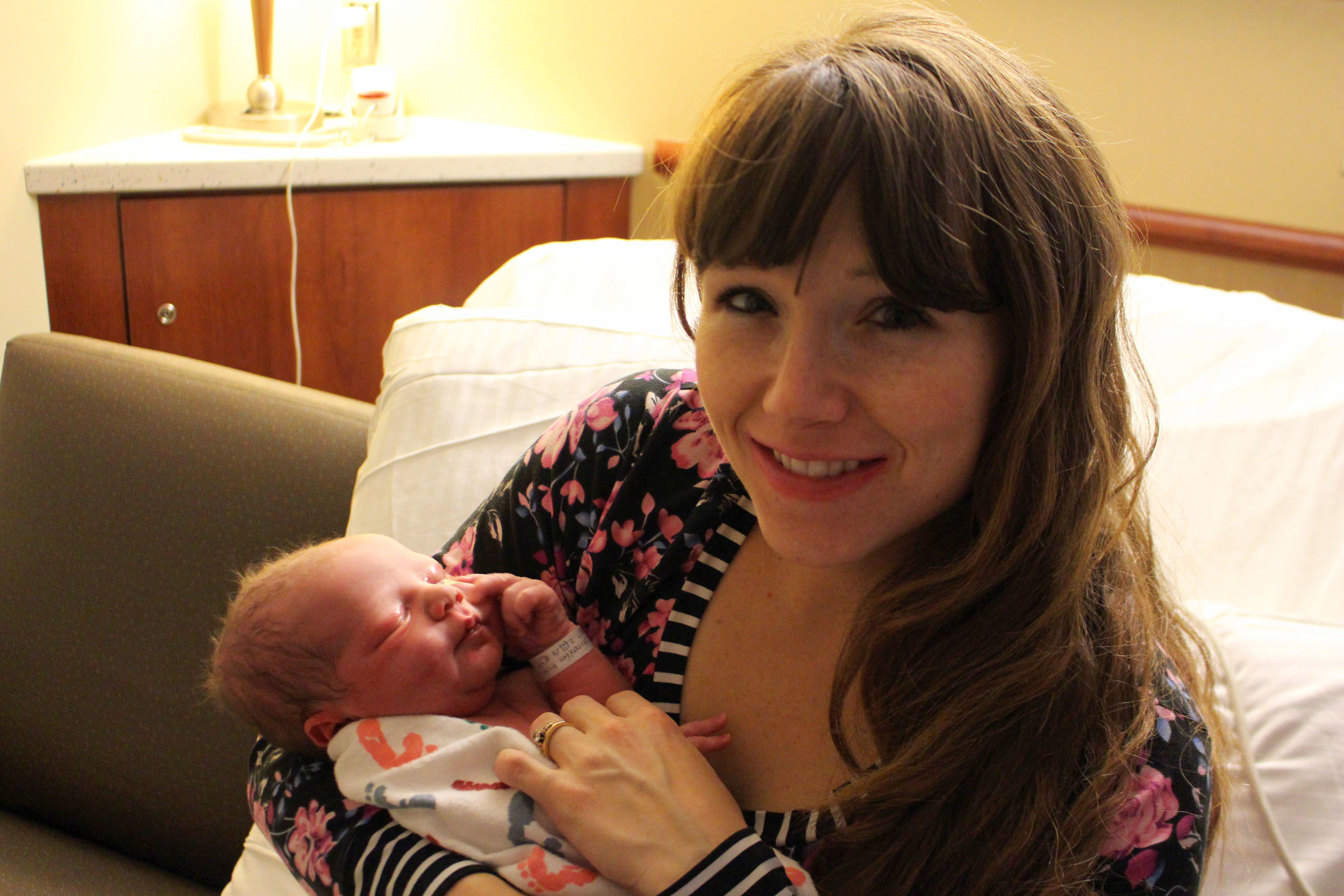 Just a few hours old! (And I'm wearing the Movie Night PJs I mentioned in my  Sew What's in Your Hospital Bag  post)