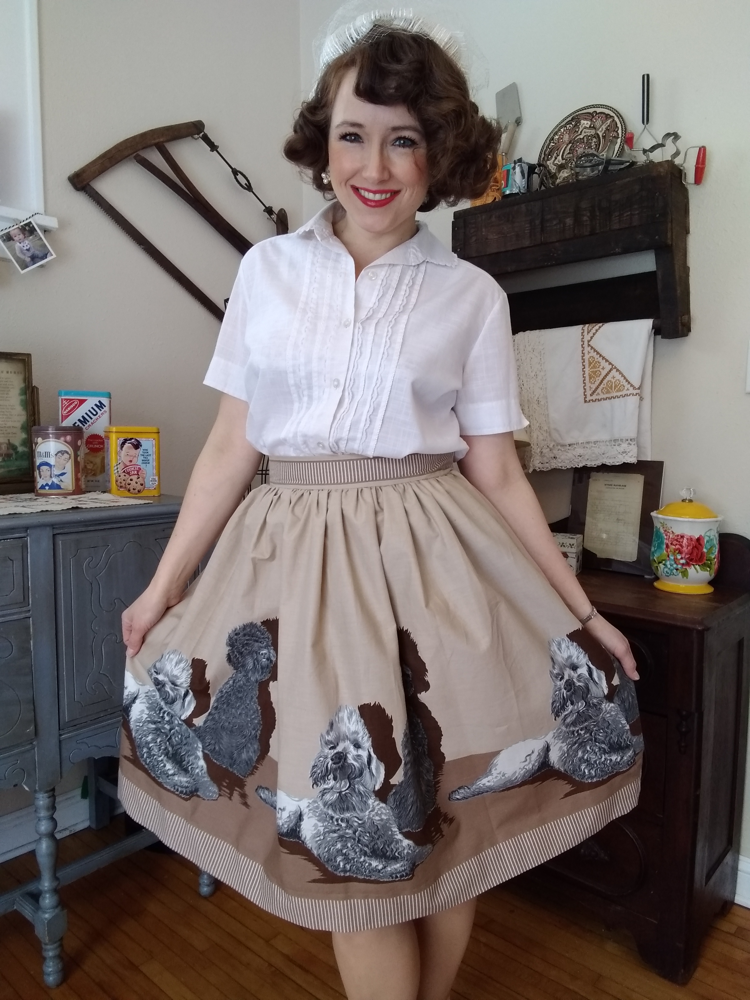 John Wolf Poodle Border Print Skirt Vintage