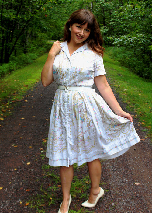 Summertime HM Kolbe Lily Lynn Young Size Vintage Novelty Print Dress French Rococo