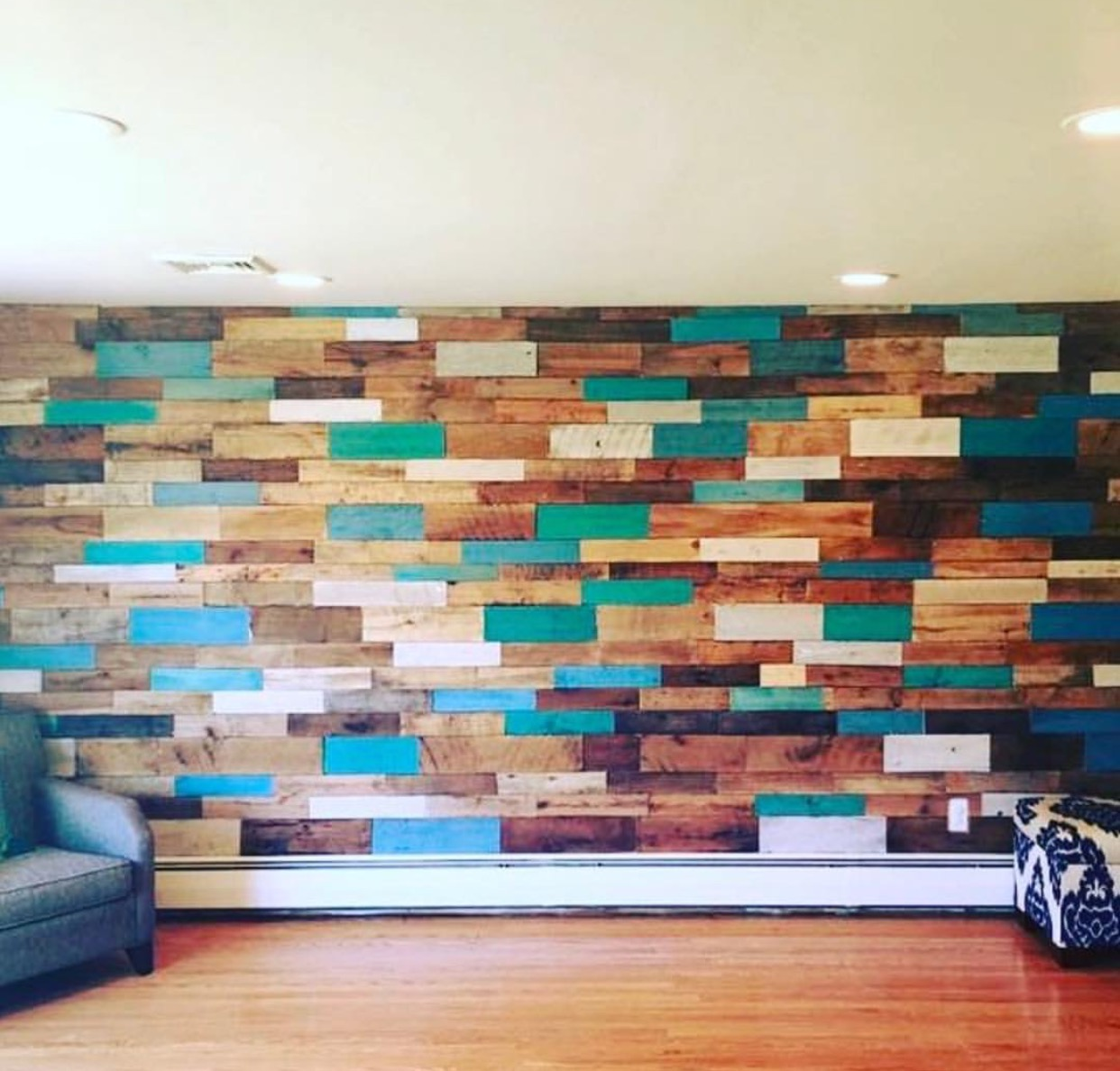 'Wall of Blues' Reclaimed wood accent wall