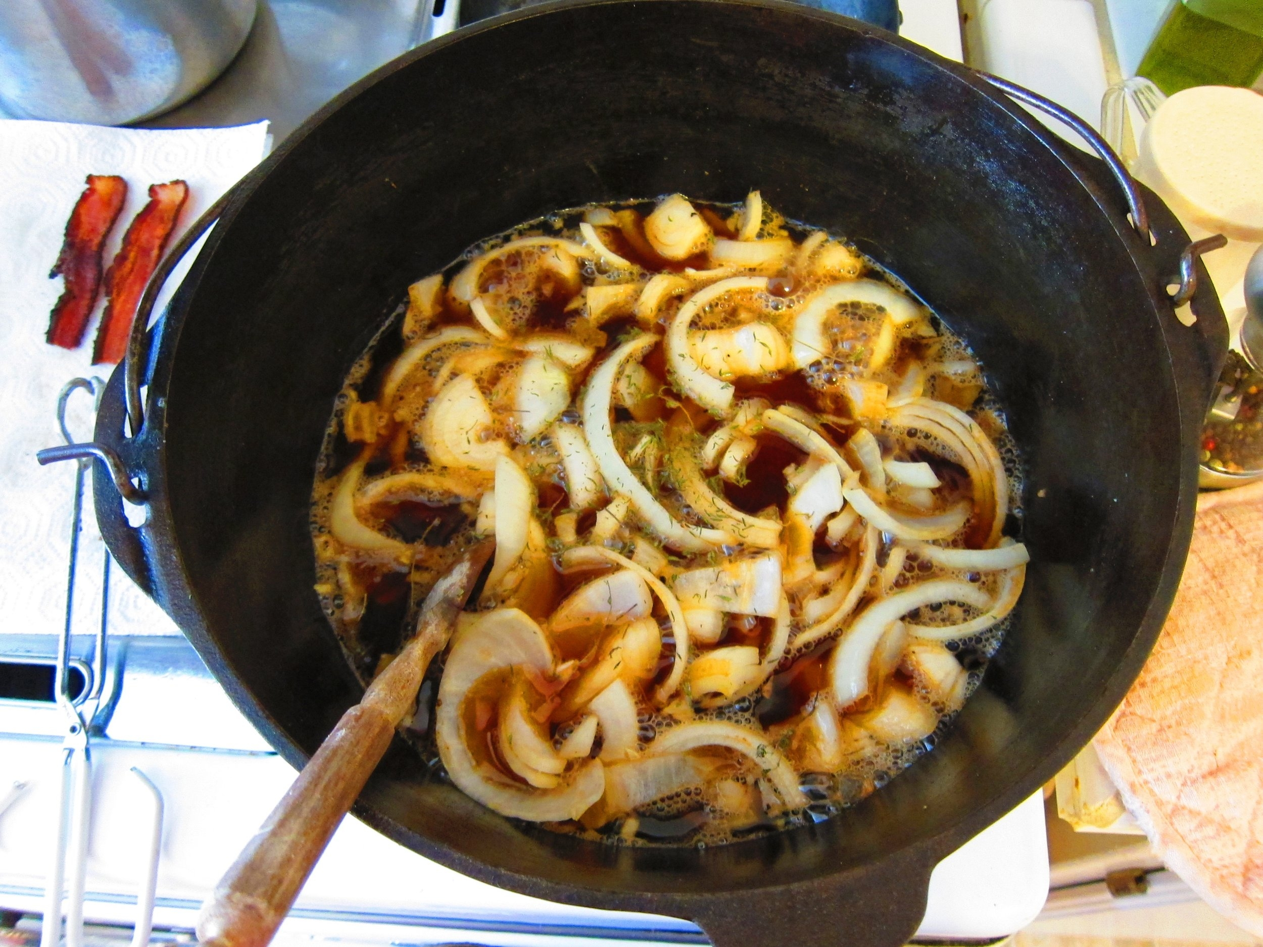 A Beef stew in it's beginning stages. What beats the smell of a pot of garlic and onions?