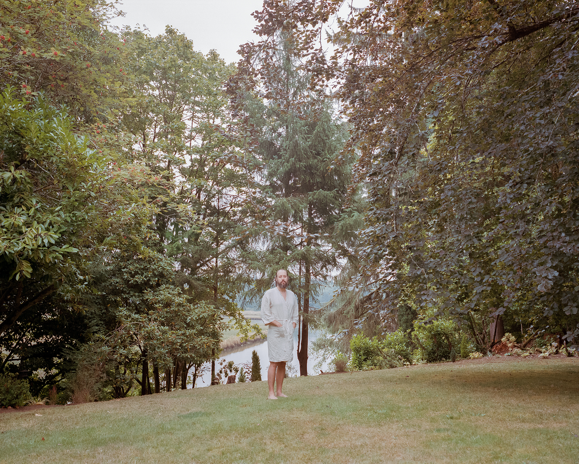 Chris in his robe by the Willipa River - September 2018