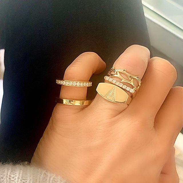 I like my gold like I like my people: Solid • #drujewelry #dru #jewelry #jewelrydesign #fortheloveofjewelry #finejewelry #livelovejewelry #love #beautiful #gold #showmeyourrings #stackemup #stacksarethenewblack #rings #crownofthorns #signet #jewelrygram #ringsofinstagram #jotd #rotd #solid #solidgold