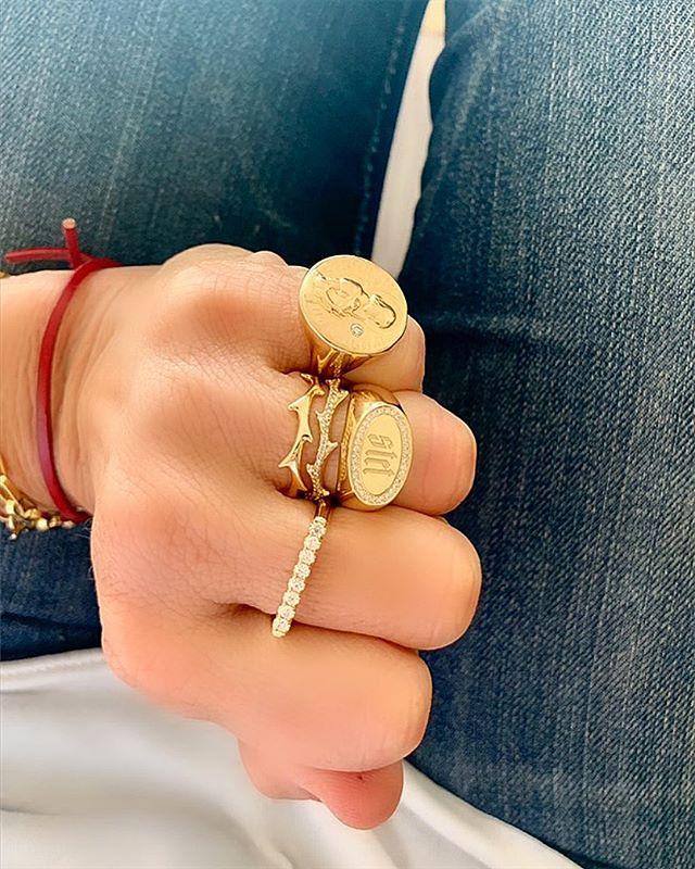 The view from above • #drujewelry #dru #jewelry #jewellery #jewelrydesign #design #fortheloveofjewelry #livelovejewelry #love #beautiful #rings #signet #stackemup #ringsofinstagram #stacksarethenewblack #showmeyourrings #jewelrygram #jotd #rotd #lovegold #grace #joanofarc #stet #crownofthorns #denim #photooftheday